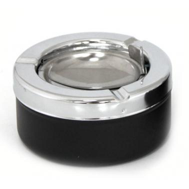 Пепелник  ветроустойчив черен  инокс/пластмаса  ф9х4.5см  CN-(BK-6008B) - Horecano