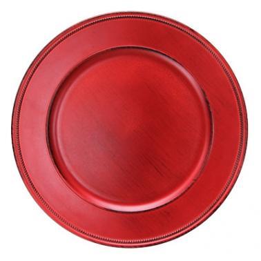 Полипропиленова подложна  чиния  червена  VINTAGE ф33см HORECANO-(HA295MP-R)