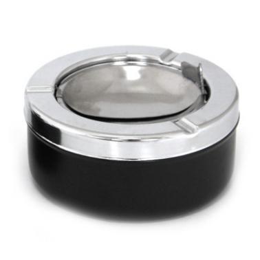 Пепелник ветроустойчив  черен  инокс/пластмаса  ф11х5.5см  CN-(BK-6007B) - Horecano