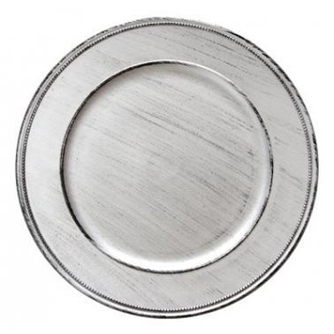 Полипропиленова подложна  чиния  сребриста VINTAGE ф33см HORECANO-(HA295MP-R)