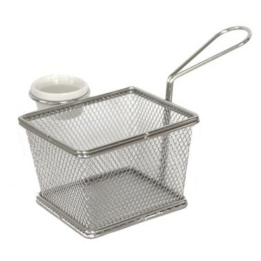 Иноксова  кошничка за сервиране правоъгълна с дръжка и рамекин  10х8х7,5см  HORECANO-(HC-93818)