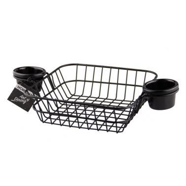 Метална кошничка за сервиране с две дръжки и два рамекина 20х20х6,5см черна(HC-93823) - Horecano