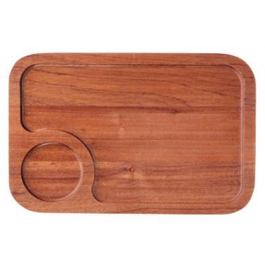 Дървена  дъска  за презентация правоъгълна  махагон 35x25x1.4см HORECANO-(HC-93841)