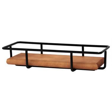 Метална стойка за блок маса с дървен плот правоъгълна33x12x6см HORECANO-(HC-93862)