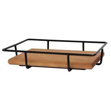 Метална стойка за блок маса с дървен плот правоъгълна 33x23x6см HORECANO-(HC-93863)
