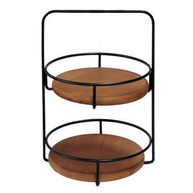 Метална стойка за блок маса на два етажа с дървен плот кръглаф28х41см HORECANO-(HC-93865)