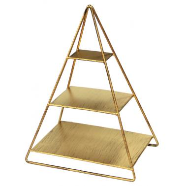Метална стойка пирамида за блок маса 20х30х41см златистаHORECANO-(HC-93873)