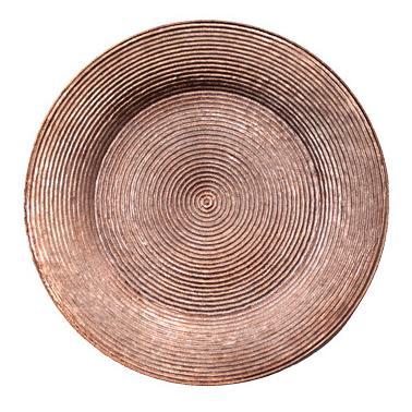 Полипропиленова подложна  чиния  с брокатен ефект  розово злато ф33см  HORECANO-(HC-93946) 194602-3
