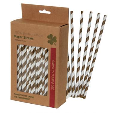 Хартиени сламки в  кутия 200 бр. кафяви  BARWARE-(HC-93975)  - Horecano