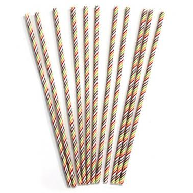 Хартиени сламки в опаковка 50 бр. ф0.6х26.5см шарени BARWARE-(HC-93983)  - Horecano