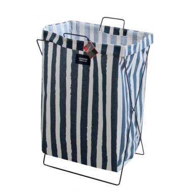 Кош за дрехи с метална рамка 35х26х59см бяло/синьо с райе №93990- Horecano