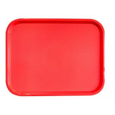 Пластмасова табла за сервиране с неплъзгащо покритие червена 35,5x45,5x1см. JW-A1418P - Horecano