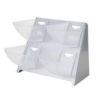Пластмасов бар органайзер за пакетчета с 4 отделения сребро 39x34xh37см (JD-86219)- Horecano