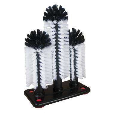 Комплект четки за миене на чаши 3бр различен размер на поставка с вакуум крачета (GB-265) - Horecano