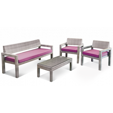 Градински комплект от 4 части сив/лилави възглавници (C812/CT2030) ГР - Horecano