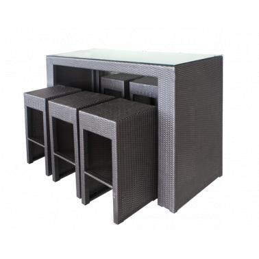 Ратанов бар сет от 7 части кафяв  -  PVC алуминиева рамка (GG-BT480CW) ГР - Horecano