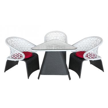 Градински комплект TRIADE 1201 черно/бяло с червени възглавници (A13816) ГР - Horecano