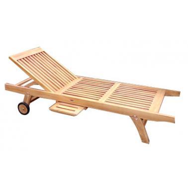 Дървен шезлонг със странична поставка 200x65xh35см  JAVA-ECO-(TLL 008) - Horecano