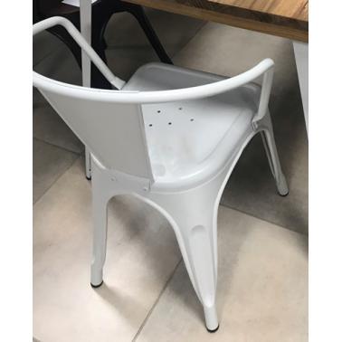 Метален стол 48x51x74см с подлакътник ANTIQUE-RETRO WHITE-(818D-KD-W) - Horecano