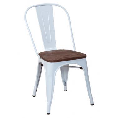 Стол 51x44x84см метал/дърво ANTIQUE-RETRO WHITE-(M818C-KD-W) - Horecano