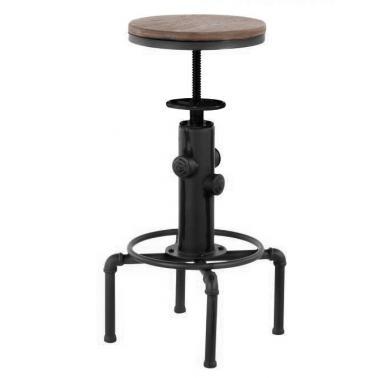 Бар стол регулиеруем dia 33x60-75см метал/дърво ANTIQUE-OLD SCHOOL BLACK-(593) -  Horecano