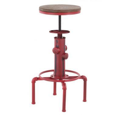 Бар стол регулиеруем dia 33x60-75см метал/дърво ANTIQUE-OLD SCHOOL RED-(593-R) - Horecano
