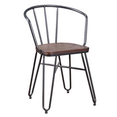 Стол с подлакътник 49x51,5x75см метал/дърво ANTIQUE-INDUSTRIAL-(M824KD) - Horecano
