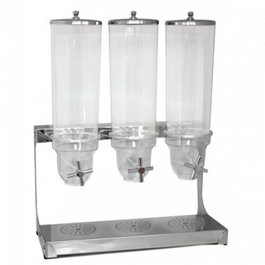 Диспенсър за мюсли - хром с 3 контейнера 3,5л (181056-3) - Horecano