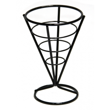 Метална стойка за сервиране на чипс 10x15 см конус черна B2241B (181001-3) HORECANO