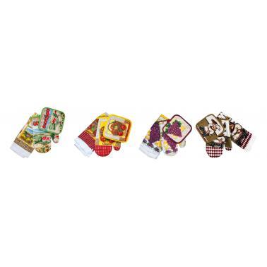 Текстилен комплект от ръкавица,ръкохватка и кърпа  FF032 CN-(0041) - Horecano