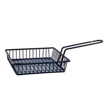 Метална кошничка  за сервиране с една дръжка 15x15x3.5см черна  HORECANO-(HC-981481)