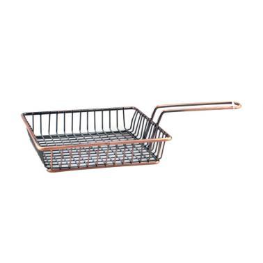 Метална кошничка за сервиране с медно покритие и една дръжка 15x15x3.5см    HORECANO-(HC-981482)