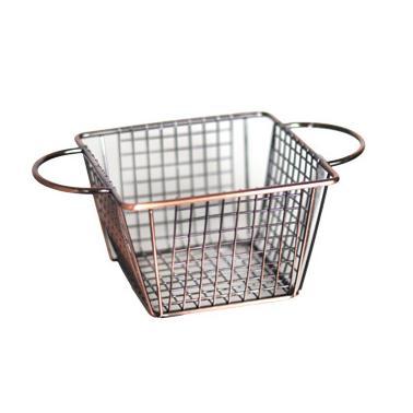 Метална кошничка  за сервиране квадратна с медно покритие и  две дръжки 12.8x12.8x8.5см  HORECANO-(HC-981483)