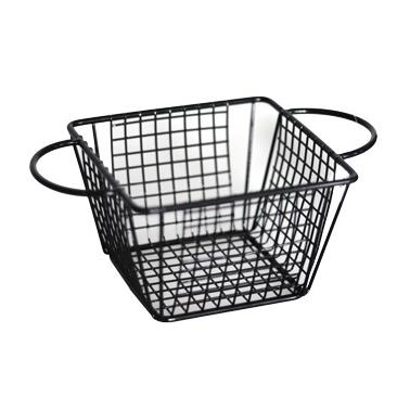 Метална кошничка  за сервиране квадратна с две дръжки 12.8x12.8x8.5см черна HORECANO-(HC-981484)