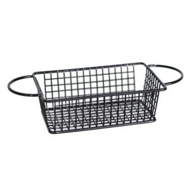 Метална кошничка  за сервиране с две дръжки 16x10.5x5см черна  HORECANO-(HC-981486)