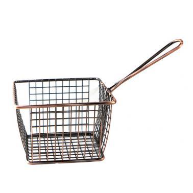 Метална кошничка  за сервиране с медно покритие и една дръжка 12x10x8см   HORECANO-(HC-981487)