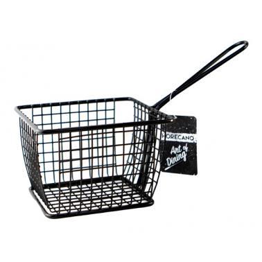 Метална кошничка  за сервиране с една дръжка 12x10x8см черна  HORECANO-(HC-981488)