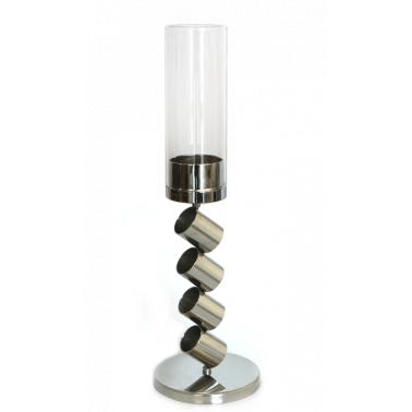 Иноксов свещник със стъкло 2021 голям CN-(0088-3) - Horecano