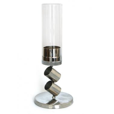 Иноксов свещник със  стъкло 2021 малък CN-(0088-1) - Horecano