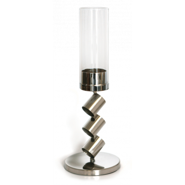 Иноксов свещник  със  стъкло 2021 среден CN-(0088-2) - Horecano