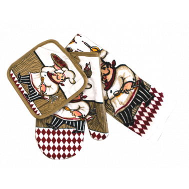 Текстилен комплект от ръкавица,ръкохватка  и кърпа   3 части CN-(5553-6087) - Horecano