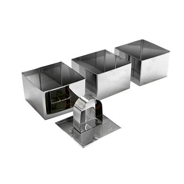 Иноксови форми квадратни 3-ка 8x8x4см CN(PS389-2 / 2741-7712) - Horecano