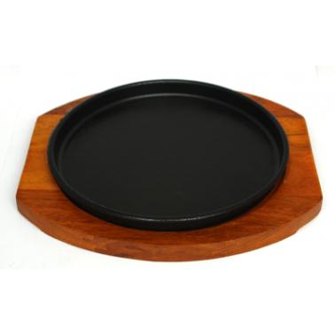 Чугунен сач 26см с дървена подложка CN-(5353-0432-3) - Horecano