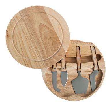 Комплект ножове за сирена с кръгла дървена дъска А-117 CN-(5472) - Horecano