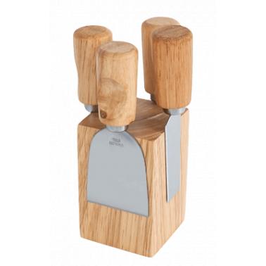 Ножове за сирена върху дървено кубче комплект  А-188 CN-(5473) - Horecano