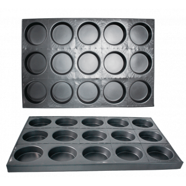 Алуминиева форма за печене на яйца 15бр. GN  60х40см CN-(А0161) - Horecano