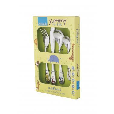Комплект от 4 бр. детски иноксови прибори за хранене Amefa - Safari