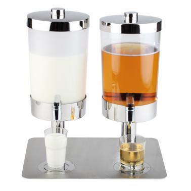 Иноксов диспенсър за сок и мляко 2х6л с 4 охладителя, 35х45х48см SUNDAY DUO - APS