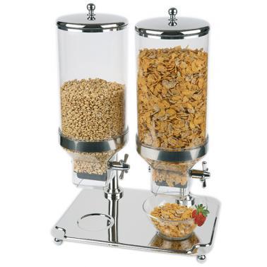 Иноксов диспенсър за зърнени закуски, 35x50см, h 68см, 2х8л CLASSIC DUO - APS