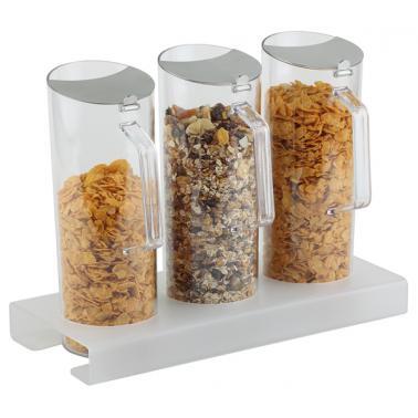 Акрилен дисплей за зърнени закуски + 3 контейнера х 1,5л, 38x17cм, h 28,5cм - APS